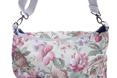 Florence Happy @ England - Borsa a tracolla reversibile messaggero, in tela, chiusura a zip, motivo con rose e gufi Horses / Pink Floral