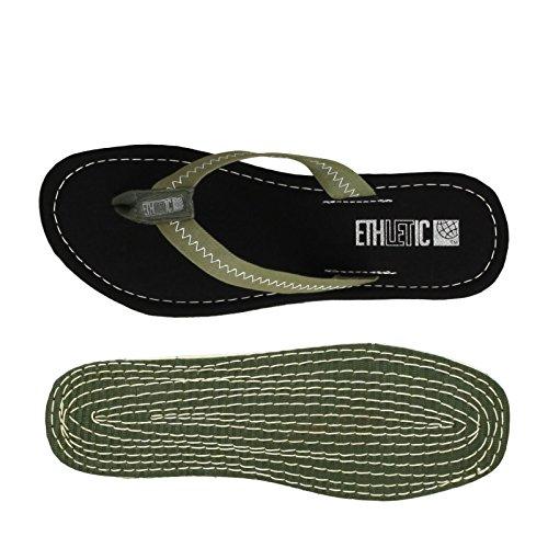 Ethletic Fair Flip vegan - Farbe jet black / camping green aus Bio-Baumwolle Größe 45