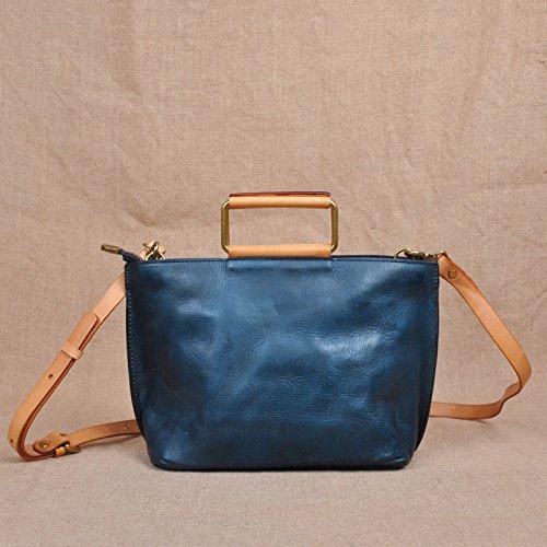 Fermeture à glissière simple vintage original sac en bandoulière sac bandoulière en cuir petit paquet Blue