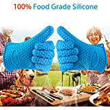 Shuban Professional Silicone Oven Mitt - 1 Pair Cooking Gloves - Heat Resistant Safe Handling of Pots and Pans Baking (Blue.)