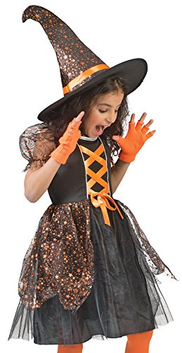 Schwarze Mädchen Hexe Kostüm - Funny Fashion Hexe Glenda Kostüm für Mädchen Schwarz Orange mit Sternen Gr. 104