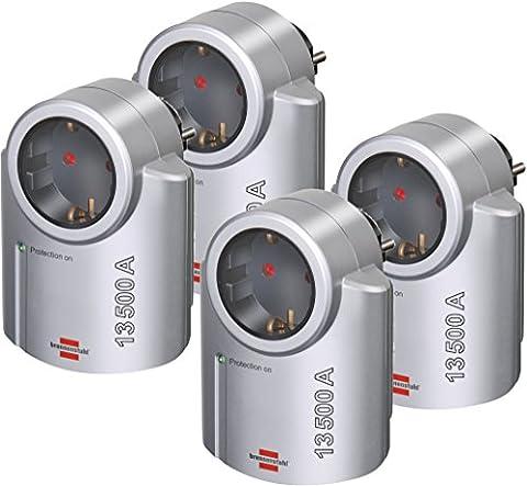 4 Stück Brennenstuhl Primera-Line, Steckdosenadapter mit Überspannungsschutz (Adapter als Blitzschutz für Elektrogeräte) Farbe: