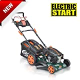 "BMC Lawn Racer 21"" Self Propelled Electric Push Button Start Lithium Ion Battery 6.5HP 4 Stroke Rotary Petrol Lawn Mower with 60L Grass Collection Bag, All Steel Deck, 4 in 1 Function Cut, Cut & Collect, Mulch, Side Discharge"