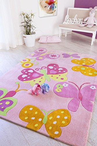 andiamo Kinderteppich mit Schmetterling Motiv, rosa Spielteppich, Größe:160 x 230 cm