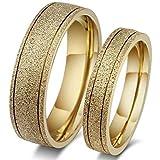 18K Gold Plated Titanium Steel Dull Polish Wedding Love Couple Ring Set Female us7 Male us8 cr15