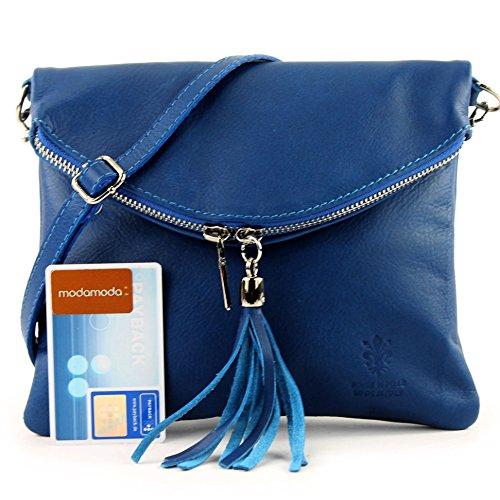 borsa di pelle ital. pochette pochette borsa tracolla Ragazze T139 piccola pelletteria T139 Blau