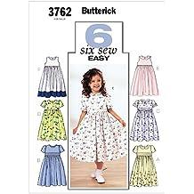 Butterick 3762/6 - Patrón de costura para confeccionar vestido de niña (6 modelos