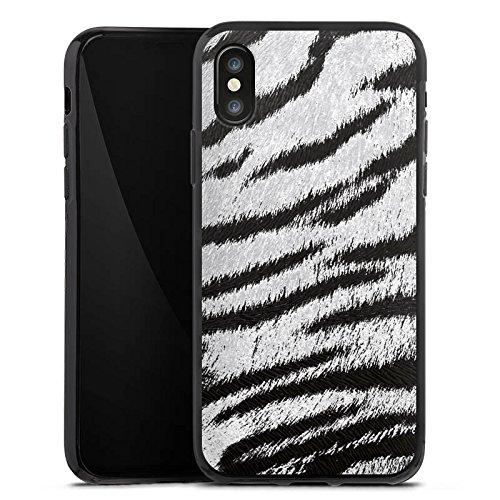 Apple iPhone X Silikon Hülle Case Schutzhülle Weißes Tiger Fell Look Muster White Animal Print Silikon Case schwarz