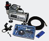 Wiltec Einsteiger Airbrush Kompressor Set AS18-2 mit 1 Airbrushpistole und umfangreichem Zubehör