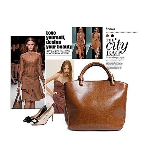 Leathario Borsa donna pelle vera tracolla rosso spalla a mano eleganti lavoro vintage cuoio fashion borsone sacca shopping weekend marrone
