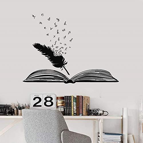 Offenes buch und feder vinyl wandtattoo schule bibliothek klassenzimmer studie schlafzimmer wohnkultur kunst wandaufkleber g1 50x42 cm (Baby-namen-buch Indischen)