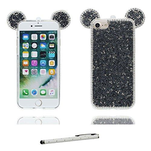 """Hülle iPhone 6 6s Cover 3D Cartoon Maus Ohr, Durable Light Slim Diamonds Bling Bead Transparent iPhone 6 Handyhülle 4.7"""", iPhone 6S case 4.7"""" Kratzer beständig & Touchstift Schwarz"""