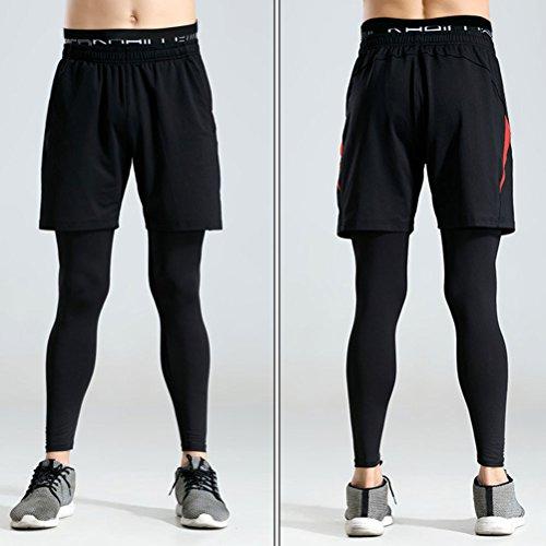 Zhhlaixing Men Sports Pants Two Piece Set Yoga Shorts Elastic Leggings Trousers Black&Red