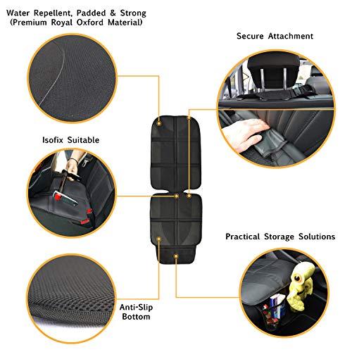 Protector de Asientos Automotrices (Material Premium Royal Oxford) - Isofix - Protege la Tapicería de los Asientos Infantiles - Resistente al Agua, Acolchado, con Bolsillos de Almacenamiento