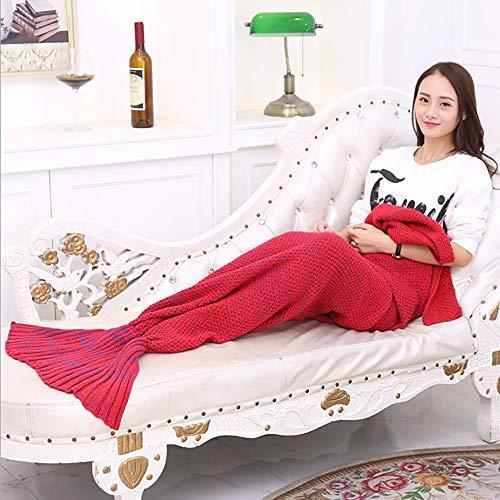 Sirène queue couverture - couverture de sirène pour les filles, la main tricoté tous les saisons douces et couverture chaude sirène dormir, adapté pour enfants et adultes,Red,140*70(cm)410g