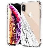 MOSNOVO Coque iPhone XS Max, Demi Marbre Blanc Design Motif Transparente Arrière...