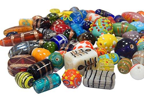 Glasperlen Mix Indian Posten Glas Perlen Beads Silberfolie Lampwork Rund Oval Neu Farbe Bunt Perlenset Bastelset Für Schmuck zur Schmuckherstellung von Halsketten Armband DIY Basteln Schmuck Design (1000)