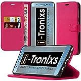( Hot Pink+ écouteur) couvrir pour Sony Xperia XZ Boîtier durable book style portefeuille en cuir polyuréthane élégant couvercle rabattable classique étui Housse couverture de peau+ avec de l'aluminium d'oreillettes, écouteurs Sony Xperia XZ par i-Tronixs