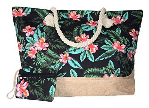 Beach Bag mittelgroß oder groß oder klein * * * Aqua/Rot/Gelb/Limettengrün/Orange/Blau/Violett/Grün * * * floral Sommer Tasche Cruise Urlaub Reise Picknick Blau (BZ4530) Navy 45x34x12cm M/L -