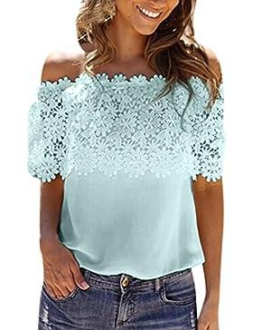 ❤️ Blusa casual de mujer, mujeres atractivas del hombro Tops casuales Blusa de encaje camisa de gasa de ganchillo...