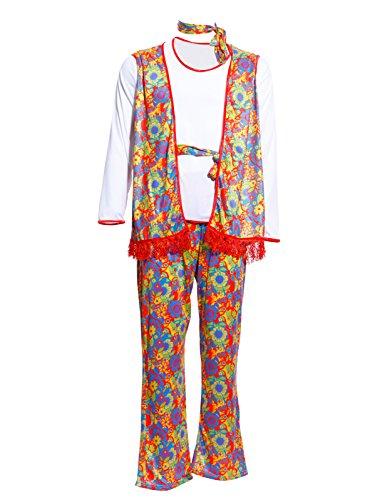 Karneval Herren Kostüm Flower Power Hippiekostüm 60er 70er Jahre mit Weste Rueschenhemd und Schlaghose (Groovy Disco Hemd Für Erwachsene Kostüme)