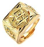 Halukakah Gold SEGEN ALLE Männlich In 18 Karat Vergoldetete Kanji Ring REICH Größe Verstellbar mit Kostenloser Geschekpackung