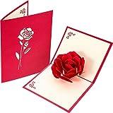 Grande Rosa 3D Pop Up Biglietti d'Auguri Fantastico Fiore Fatto a Mano Regalo Carta Origami e Kirigami per San Valentino Compleanno Anniversario Invito Nozze Amore Regali