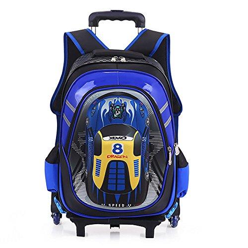 0fe0f65c97 HCC& 3D Coche Rolling Backpack, Multifunción Mochila Escolar con Ruedas,  Impermeable 6 Ruedas Mochila