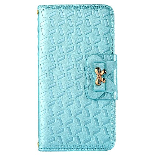 iPhone Case Cover Pour iPhone 7 Bowknot Embossing Horizontale Flip étui en cuir avec Holder & Card Slots & Wallet ( Color : Gold ) Blue