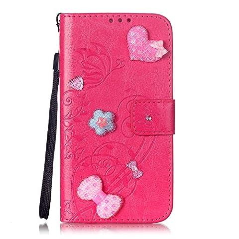 Coque Housse Pour iPhone 7 plus Case, Heart and Bow Rhinestone Case Embossed Flowers Housse en cuir PU Case à main avec bracelet à main pour iPhone 7 plus pour iPhone 7 plus ( Color : Rose Red , Size : Iphone7 Plus
