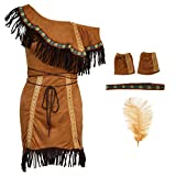 MagiDeal Indio Traje de India Mujeres Nativo Americano Tribal Cosplay Disfraces - L