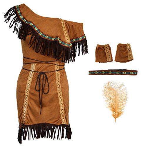 Fenteer Damen Indianerin Kostüm Set Cosplay Kostüm und -