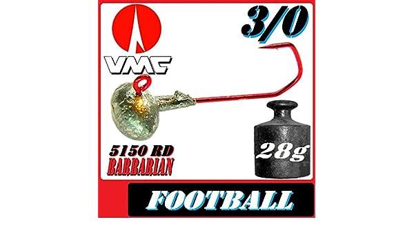 Adrenalin-Fishing VMC Jighaken Jigkopf Football Eierkopf Gr/ö/ße 3//0 18g 10 St/ück im Set