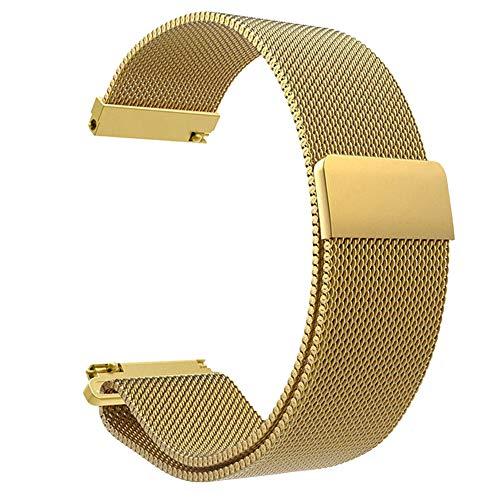 Knowin 20mm Uhrenarmband, Smart Watch Armand Ersatzband mit Edelstahl Magnet-Verschluss für 20mm Silber Edelstahlarmband Uhrenarmband für Xiaomi Amazfit Bip Youth Watch