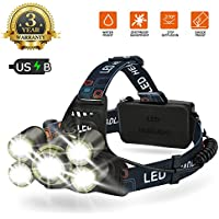Lampe Frontale LED USB Rechargeable, 6500K Ultra Lumineuse 5 Modes Lampe Torche LED avec 7 LED CREE T6 Zoomable Étanche Confortable pour VTT camping pêche bricolages