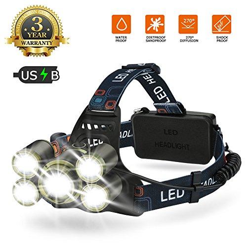 Lampe Frontale LED USB Rechargeable, 6500K Ultra Lumineuse 4 Modes Lampe Torche LED Zoomable IP44 Étanche Légère et Confortable pour VTT camping pêche bricolages