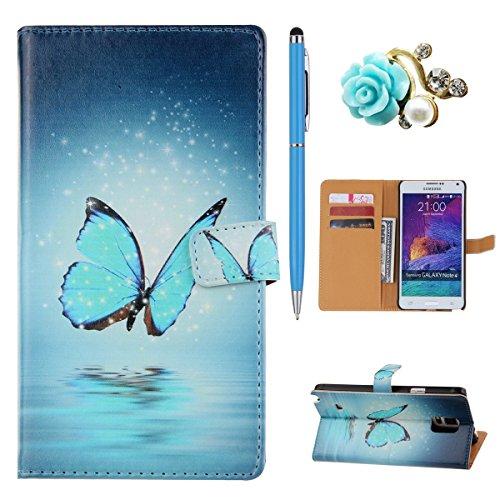 Samsung Note 4 Wallet Case Cover - Felfy Ultra Slim Cuir Coque Pour Samsung Galaxy Note 4 Flip Retro Bleu Papillon Motif PU Étui Portefeuille Housse Etui Holster + 1x Blue Touch Stylus + 1x Strass Ble Bleu Papillon