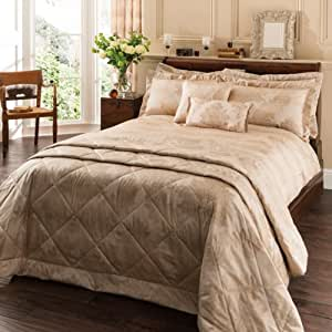 XXL-parure de lit-housse de couette: 260 x 220 cm et 2 taies d'oreiller de 50 x 75 cm motif fleurs patchwork parure de lit naturel/doré 6 ft courtleigh parure de lit