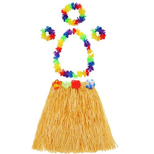 Imagen de shappy falda de hierba de hula con set de disfraces de guirnalda de flores, pulsera, diadema, collar de hierba luau elástica y flores hawaianas para favores de fiesta, 2 juegos alternativa