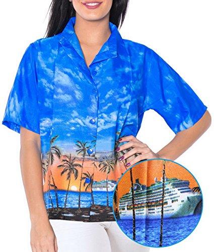 La Leela morbida Likre spiaggia lato tramonto vista camicia donne blu brillante M