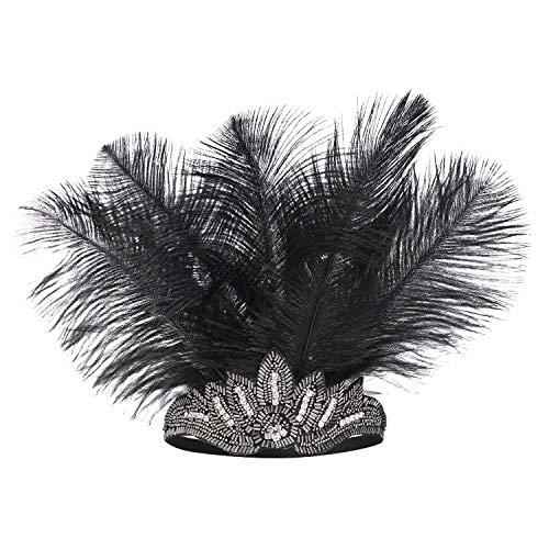 Coucoland Damen 1920s Stirnband Feder Great Gatsby Kostüm Fasching Accessoires 20er Jahre Flapper Feder Haarband (Silber Strass) (Flapper Kostüm Kopfbedeckung)