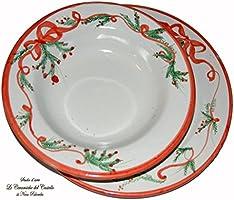 Servizio piatti Piatto Piano + Fondo Linea Natale Ceramica Handmade Le Ceramiche del Castello Nina Palomba Made in Italy