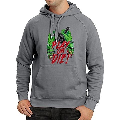 Sweatshirt à capuche manches longues Jouer ou mourir - pour les joueurs seulement! (XX-Large Graphite Multicolore)