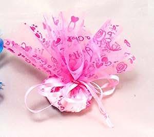 Confezione 50 pezzi, Bomboniera sacchettino organza tulle con tirante, disegno baby (ck1592a) (Rosa)