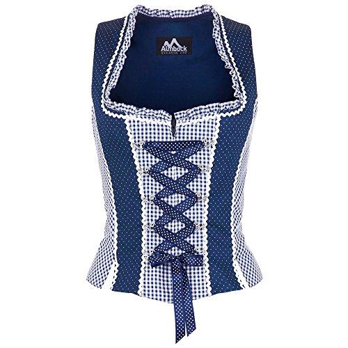 ALMBOCK Trachtenmieder Damen blau | Trachten Baumwoll Mieder in den Größen 34 36 38 40 42 | Trachtenoberteile für Lederhosen