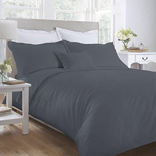 My Baumwolle Home Bettbezug Sets-Perkal-100% Ägyptische Baumwolle-180Fadenzahl, Monument Grey, Single (135x200cm) - Ägyptische Baumwolle Single
