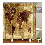 Amody Duschvorhang World Map Digital Printing Mildew Resistant Waterproof Badezimmer Vorhang Bunten Größe 120X180Cm