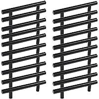 Conjunto de 20 unidades de tiradores para muebles de cocina, pomos de puertas, armarios, cajones o muebles de dormitorio, en color negro. Distancia entre puntos de fijación de 160mm.