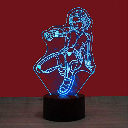 Baby-Schlafenlicht der Lampe 3D, kämpfende Frau, 7-Farben, die Tischlampe-Kindgeschenk USB-Schnittstelle, Berührungsschalter-Hauptdekoration-Lampe ändert