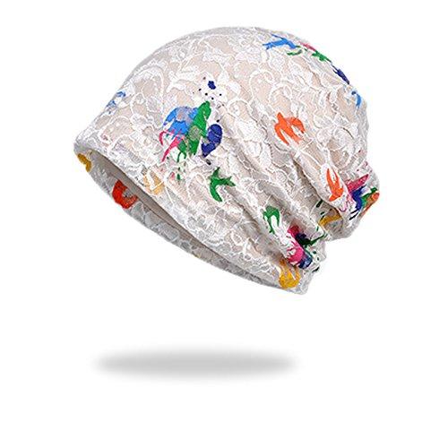 WELROG Chemo Hut Frau Frauen Hut Spitzen Kopftuch Super Weich Slouchy Turban Kopfbedeckungen Kopf Wraps (Weiß #2)